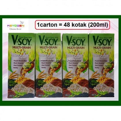 (READY STOCK) (PROMO WITH FREE GIFT) V-Soy Multi-Grain Soya Bean Milk 200ml -1 ctn (48 kotak)