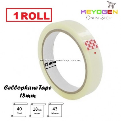 (READY STOCK) 1 roll Transparent Clear OPP adhesive tape 18mm x 40 yard in 43micron thickness promotion