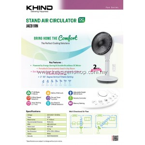(FREE SHIPPING) Khind JAC91RN Air Circulator ( 2 years warranty ) FREE 1 PACK Ovaltine 3 in 1 Original Taste (20's + 2's)