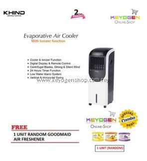 Khind Evaporative ionizer Air Cooler EAC200 with Remote Control - 20L FREE 1 Unit Random Goodmaid Air Freshener