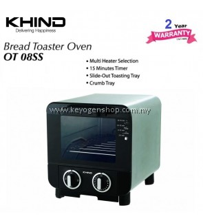 Khind 8 Litre stainless steel OT08SS mini bread toaster oven - 2 yr wr