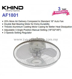 Khind 18'' Auto Fan AF1801 (White) - 3 Years + 1 Year General Warranty
