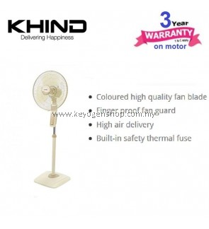 Khind Stand Fan SF1682 with Finger-proof Fan Guard & Adjustable Height