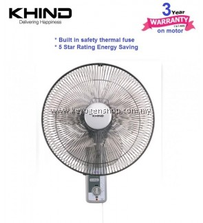 Khind Wall Fan WF1601 (3 Years Warranty) LIGHT GREY - 5 star rating