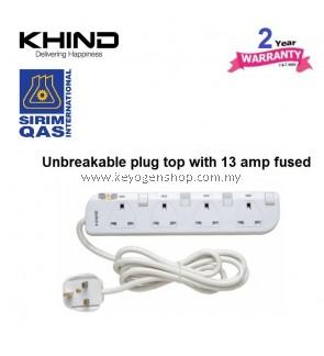 KHIND 4 Gang 13AMP FUSED Trailling Socket LN8134W - option