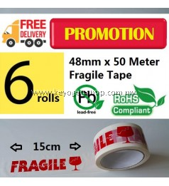 Promosi Hebat ! 6 pcs Fragile Warning OPP packaging packing seal tape