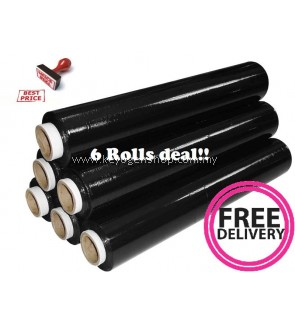 6 rolls / 1 carton Black Color stretch film 500mm waterproof wrapper