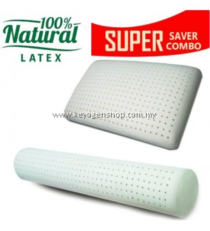 Free Shipping 100% Natural latex pillow + latex bolster Combo set promotion