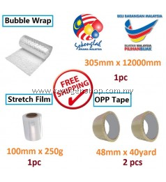 Free Delivery bubble wrap + mini stretch film + OPP clear tape promosi
