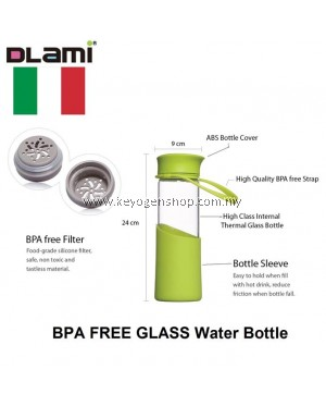 Free Delivery Dlami ( Italy ) 550ml glass water bottle with filter green #MYCYBERSALE