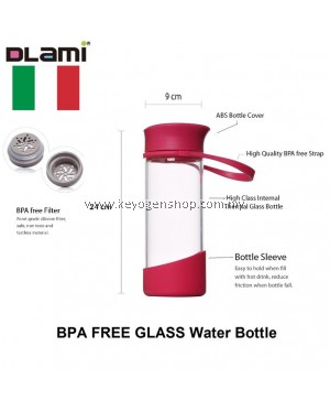 Free delivery Dlami ( Italy brand ) 550ml glass water bottle - red #MYCYBERSALE