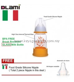 Dlami ( italy brand ) D13 BPA free break resistant glass milk bottle