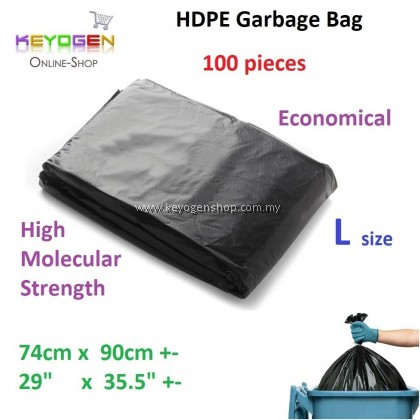 Free delivery HDPE Garbage Bag L 74cm x 90cm - 100pcs #mycybersale