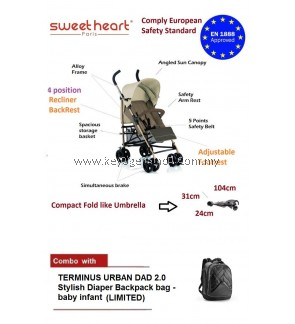 Free Shipping Sweet Heart Paris VALENCIA Alloy Frame Stroller COMBO TERMINUS URBAN DAD 2.0 Stylish Diaper Backpack #MYCYBERSALE