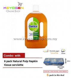 Keyogen 1unit Dettol Antiseptic COMBO 6pack Natural Pulp Napkin tissue