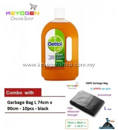Keyogen 1unit Dettol Antiseptic 750ml COMBO Garbage Bag L 10pcs