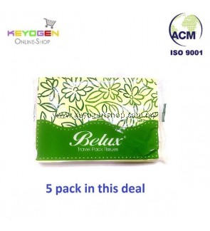 FREE SHIPPING Keyogen Large Natural Pulp Travel Pack Tissue 14cmx19cm (50'sx5 pack)