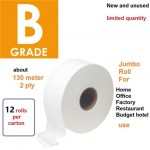 Free delivery 1 carton 12 roll B grade Jumbo roll tissue toilet paper