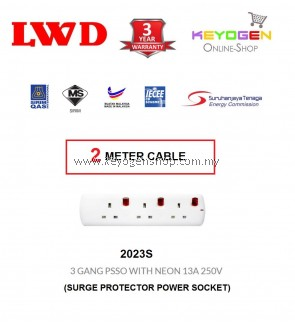SIRIM Certified LWD 2023S - (2 Meter Cable) Surge Protector Power Socket- Trailing Socket 3 GANG PSSO WITH NEON 13A 250V - 3 Years Warranty