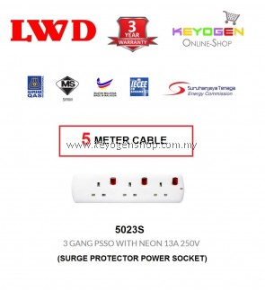 SIRIM Certified LWD 5023S - (5 Meter Cable) Surge Protector Power Socket- Trailing Socket 3 GANG PSSO WITH NEON 13A 250V - 3 Years Warranty