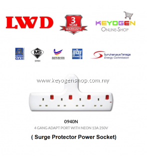 SIRIM Certified LWD 0940N Surge Protector Power Socket Trailing Socket 4 GANG ADAPT PORT WITH NEON 13A 250V - 3 Years Warranty