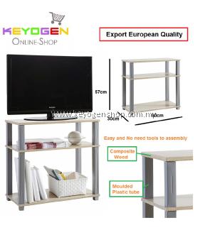 Keyogen plastic tube pole shelf rack 60 x 30 x 57cm No tools - oak woodgrain - Export european #MYCYBERSALE