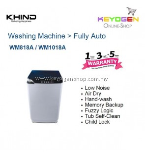 KHIND 8KG (Fully Auto) Washing Machine with Stylish Touch Panel WM818A / WM1018A ((NEW MODEL))