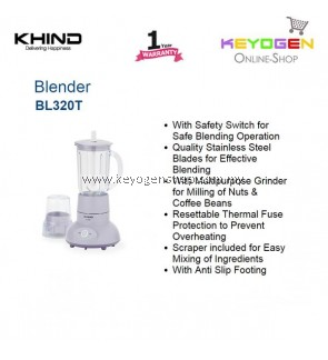 KHIND Blender BL302T With Multipurpose Grinder for Milling of Nuts
