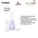 KHIND Personal Blender BL600P with BPA Free 600ml Tritan Bottles