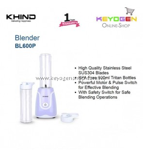 KHIND Personal Blender BL600P with BPA Free 600ml Tritan Bottles