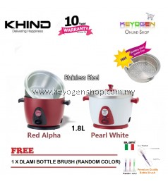 ( Flash Sale ) LARGE Khind 2.8L Anshin stainless steel Rice Cooker RC128M FREE steam tray - Free Dlami Bottle Brush