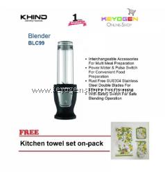 KHIND Blender BLC99 Power Motor & Pulse Switch FREE 1 Pack Kitchen Towel set-on-pack