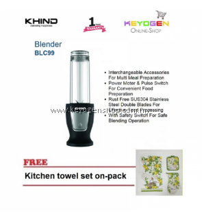 KHIND Blender BLC99 Power Motor & Pulse Switch FREE 1 Pack Kitchen Towel set-on-pack