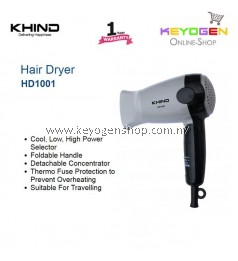 KHIND Hair Dryer HD1001 Thermo Fuse Protection to Prevent Overheating