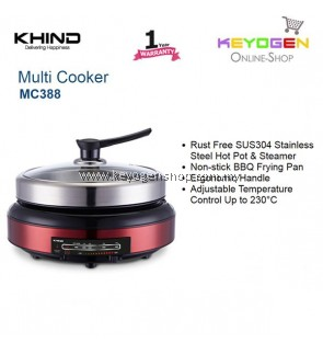 KHIND Multi Cooker MC388 Rust Free - Stainless Steel Hot Pot & Steamer