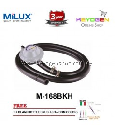 Milux Gas Regulator M-168BKH (Low Pressure) 3 Years Warranty FREE Dlami Brush for Bottle