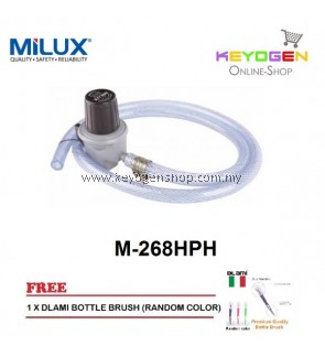 Milux Gas Regulator M-268HPH (High Pressure) 1.3m Hose FREE Dlami Brush for Bottle