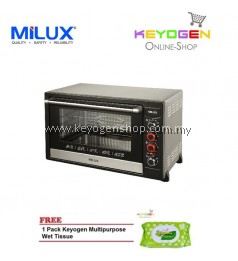 ( launching sale )MILUX Stainless Steel Electric Oven MOT-DS80 FREE 1 Pack Keyogen Multipurpose wet Tissue 80pcs per pack