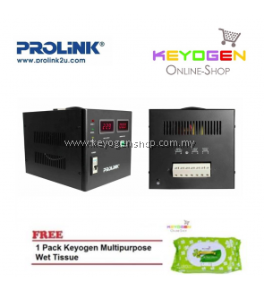 PROLiNK PVS3001CD 3KVA High-Precision Full-Automatic Voltage Regulator FREE 1 Pack Keyogen Multipurpose wet Tissue 80pcs per pack