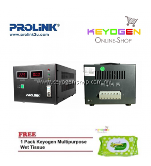 PROLiNK PVS5001CD 5KVA High-Precision Full-Automatic Voltage Regulator FREE 1 Pack Keyogen Multipurpose wet Tissue 80pcs per pack