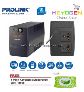 PROLiNK PRO700SFC 650VA UPS with AVR / Super Fast Charging 3-Year Warranty FREE 1 Pack Keyogen Multipurpose wet Tissue 80pcs per pack