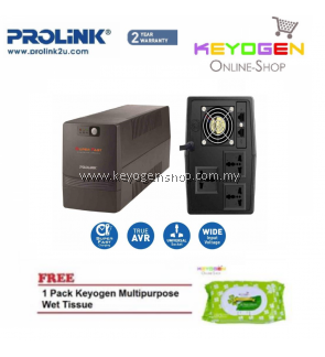 PROLiNK PRO1501SFC 1500VA UPS with AVR / Super Fast Charging 2 Year Warranty FREE 1 Pack Keyogen Multipurpose wet Tissue