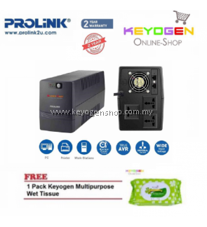 PROLiNK PRO2000SFC 2000VA Super-Fast Charging UPS with AVR FREE 1 Pack Keyogen Multipurpose wet Tissue