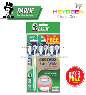DARLIE Toothbrush Wide Clean Extra Wide Brush Head with Hill Shape Bristles Toothbrush BUY 2 FREE 1