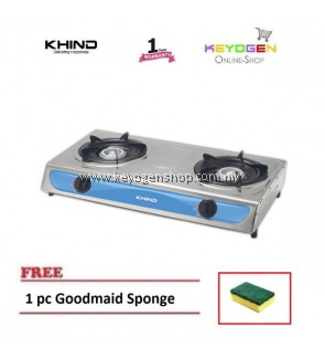 KHIND GC1710 Gas Cooker Stailess Steel Top Plate FREE 1pc Goodmaid Sponge 1 Year Warranty