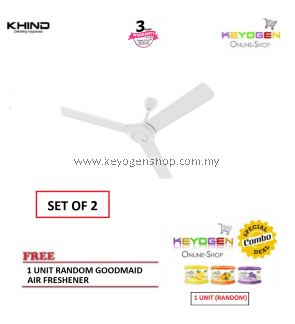 ( SET OF 2 ) Khind Ceiling Fan CF60BM with Energy Saving&Strong Air Delivery FREE 1 Unit Random Goodmaid Air Freshener