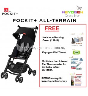 Free Shipping GB Pockit+ All-Terrain Stroller (BLACK) FREE (1 Unit) Holabebe Nursing Cover, (1 Unit) Keyogen Wet Tissue,(1 Unit) Thermometer for Kid Baby Infant BD1160A, (1 Unit) Remos Insect Repellent Spray #mycybersale