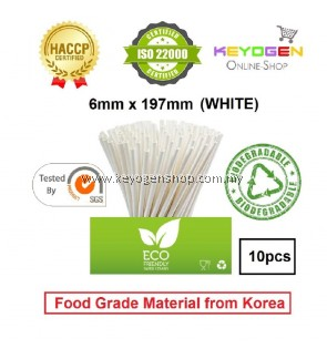 Keyogen 10pcs 6mm x 197mm Eco Biodegradable Paper Straw White ( Food Grade ) - HACCP - for restaurant