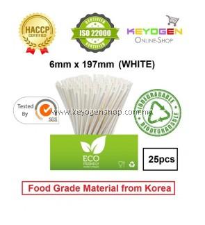 Keyogen 25pcs 6mm x 197mm Eco Biodegradable Paper Straw White ( Food Grade ) - HACCP - for restaurant