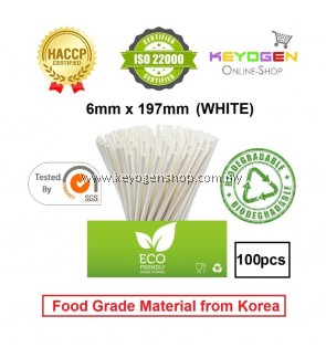 Keyogen 100pcs 6mm x 197mm Eco Biodegradable Paper Straw White ( Food Grade ) - HACCP - for restaurant